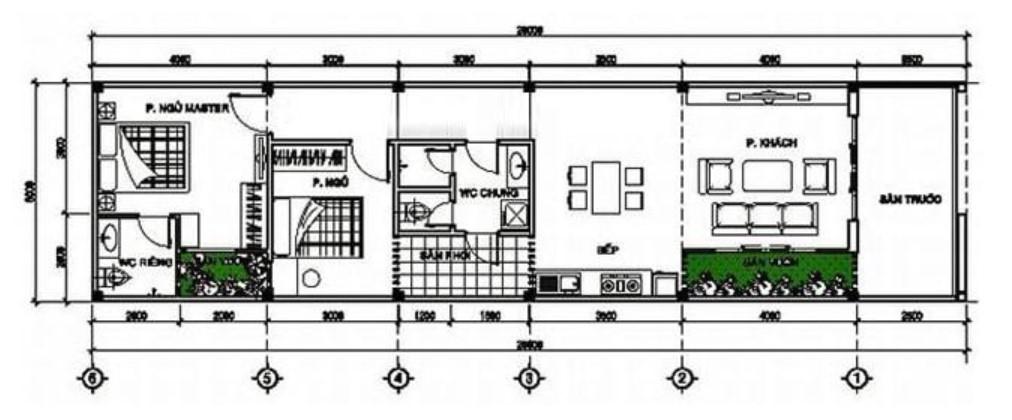 Bản vẻ cấu trúc nhà cấp 4 diện tích 5x20m2 hiện nay