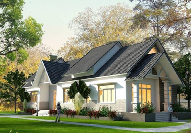 Thiết kế nhà cấp 4 có gác lửng và sân vườn.
